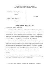 Memorandum Opinion and Order - ACLU of North Carolina