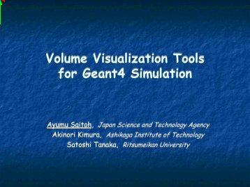 Volume Visualization Tools for Geant4 Simulation