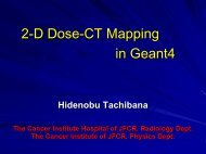 2-D Dose-CT Mapping in GEANT4