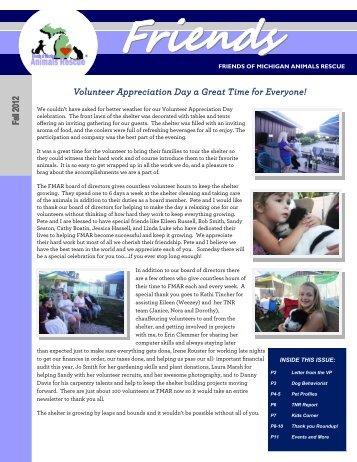 2012 3rd Quarter Newsletter - Friends of MI Animals Rescue