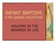 INFANT BAPTISM: - Department of Youth and Young Adult Ministry