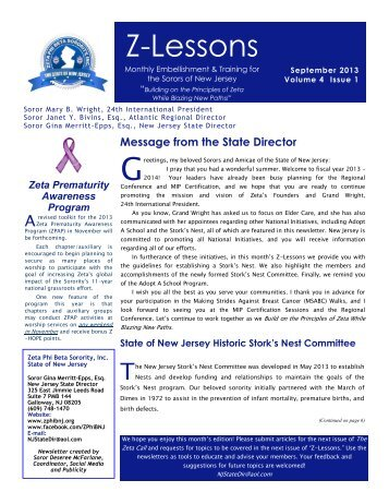 September 2013 - Zeta Phi Beta Sorority, Inc. - State Of New Jersey