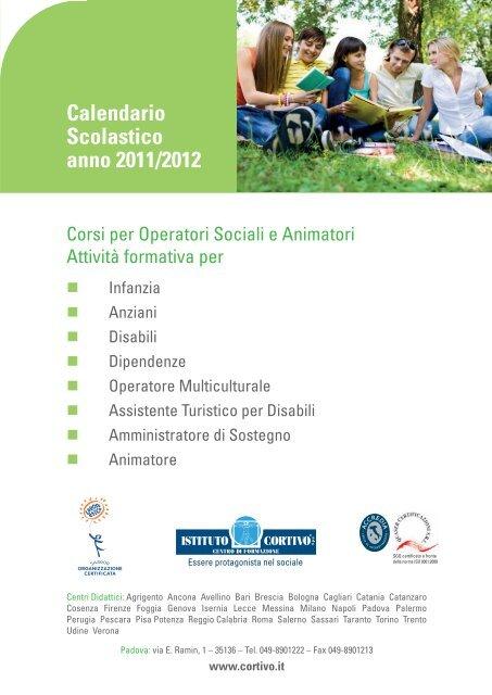 Calendario Scolastico Bologna.Calendario Scolastico Anno 2011 2012 Istituto Cortivo