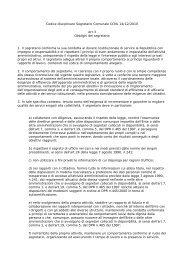 Codice disciplinare Segretario Comunale - Comune di Pitigliano