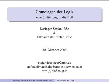 Grundlagen der Logik - eine Einführung in die PL0 - Soup