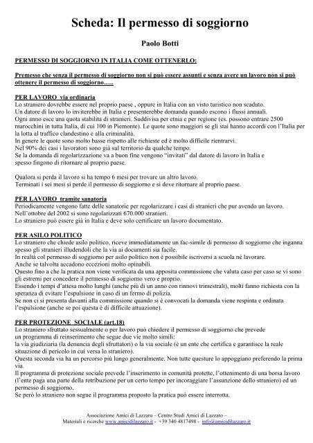 Scheda - Il permesso di soggiorno - Botti - Amici di Lazzaro