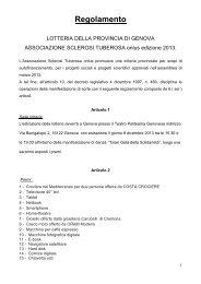 Regolamento Lotteria Genova 2013 - Associazione Sclerosi Tuberosa