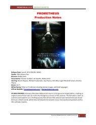 PROMETHEUS Production Notes - Visual Hollywood