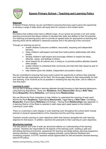Teaching and Learning Policy - Epsom Primary School