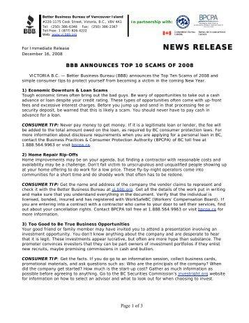 NEWS RELEASE - BBB - Better Business Bureau