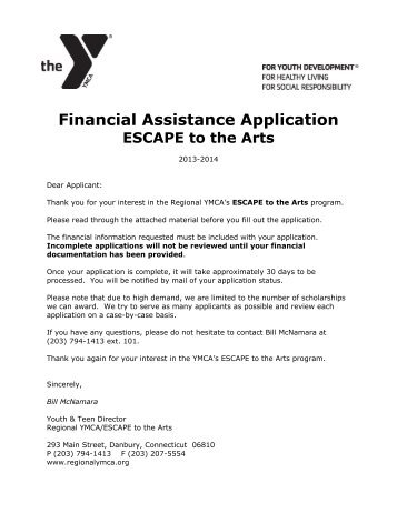 Financial Assistance Application - YMCA of Southeast Ventura County