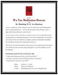Presents Wu Tao Meditation Retreat - Tao of Wellness