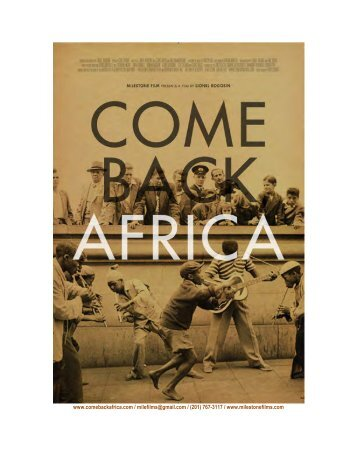 Come Back Africa Press Kit - Get a Free Blog