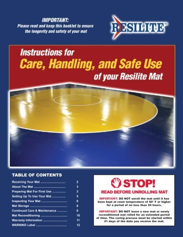 Wrestling Mat Care, Handling and Safe Use Instructions