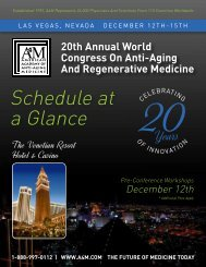 Schedule at a Glance - American Academy of Anti-Aging Medicine