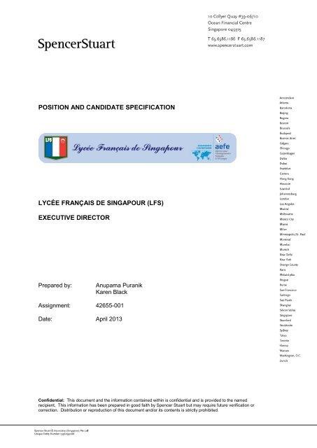 position and candidate specification lycée français de singapour (lfs)