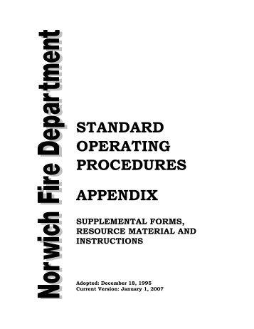 Standard Operating Procedures Appendix (PDF) - Norwich, Vermont