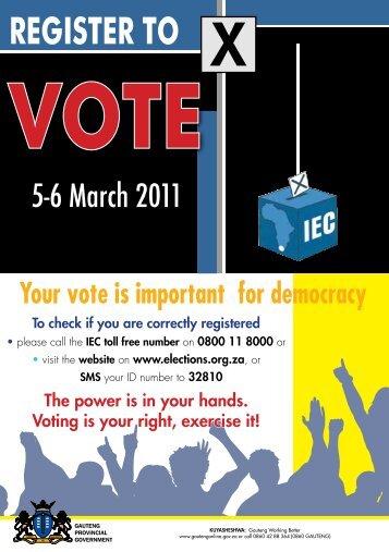 campaign poster - register to vote - Gauteng Online
