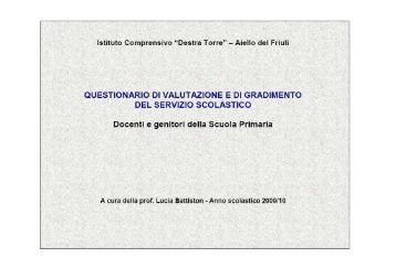Scuola dell'Infanzia Questionario Genitori - Istituto Comprensivo ...