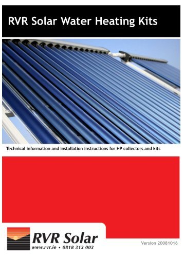 Installation Instructions – RVR Solar Water Heating Kits - RVR.ie