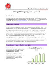 Waiting Child Program Update – April 2012 - CCAI