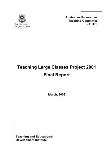 Teaching Large Classes Project 2001 Final Report - cadad