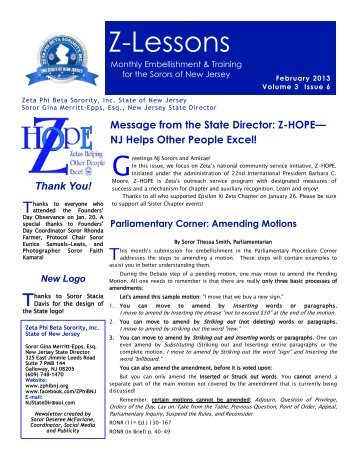 Z-Lessons - Zeta Phi Beta Sorority, Inc. - State Of New Jersey