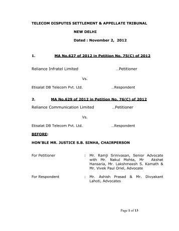 telecom disputes settlement & appellate tribunal - tdsat