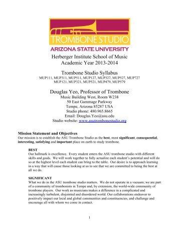 ASU Trombone Studio Syllabus, Fall 2013 - Arizona State University ...