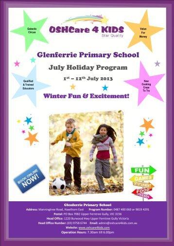 OSHCare 4 Kids July Holiday Program - Glenferrie Primary School