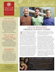 wellness newsletter - Tao of Wellness