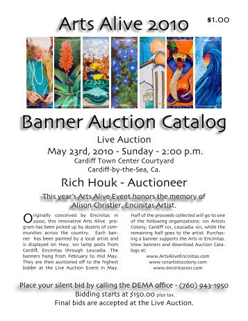 Arts Alive 2010 Banner Auction Catalog - Downtown Encinitas ...