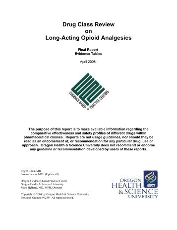 Drug Class Review on Long-Acting Opioid Analgesics