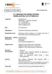 16-21 ottobre 2012 - Associazione Italiana Master Scherma