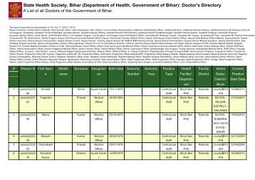 State Health Society, Bihar (Department of Health, Government of ...