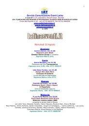 Servizio Comunicazione Eventi Latina Mercoledì 30 ... - LatinaEventi.it