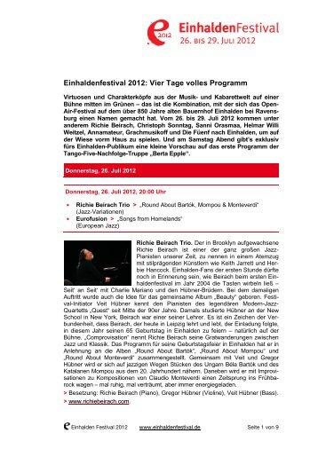 Einhaldenfestival 2012: Vier Tage volles Programm