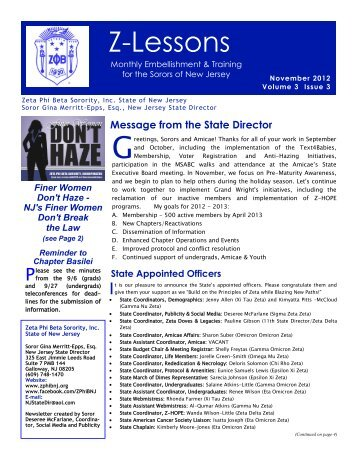 November 2012 - Zeta Phi Beta Sorority, Inc. - State Of New Jersey