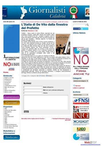 L'Italia di De Vito dalla finestra del Prefetto ... - Miraggi Edizioni