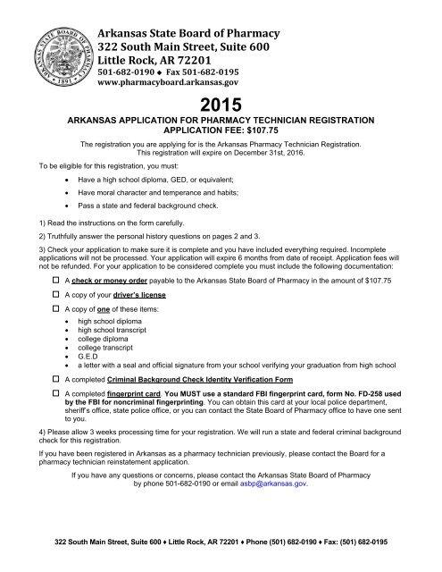 application - Arkansas State Board of Pharmacy