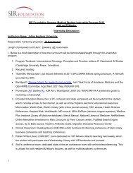 SIR Foundation Summer Medical Student Internship Program 2012 ...