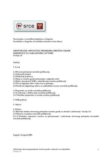 Smjernice za nakladnike - NSK - Nacionalna i sveučilišna knjižnica ...
