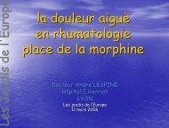 la douleur aiguë en rhumatologie - Les Jeudis de l'Europe