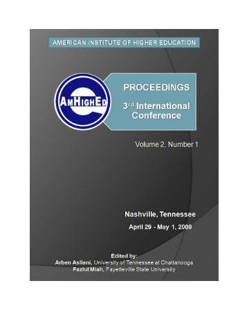 AmHighEd Proceedings, Nashville, TN, 2009