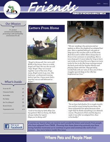 2010 4th Quarter Newsletter - Friends of MI Animals Rescue