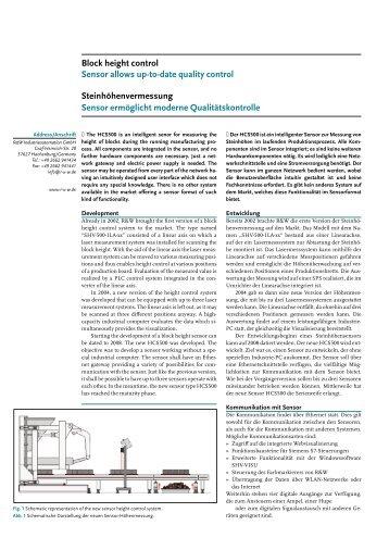 Sensor ermöglicht moderne Qualitätskontrolle Block height control ...