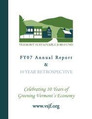 2007 VSJF Annual Report and Ten Year Retrospective - Vermont ...