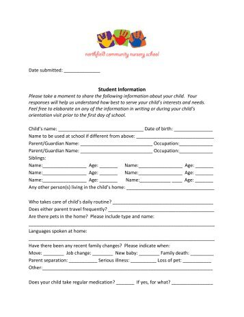 NFCNS Student Information Form