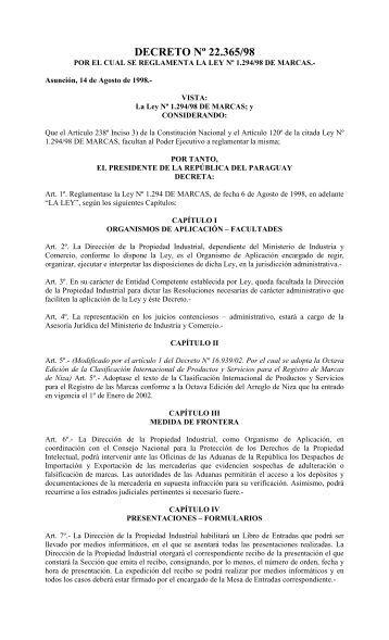 Decreto 22368 del 98 Que Reglamenta la Ley de ... - Poder Judicial