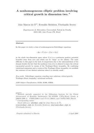 A nonhomogeneous elliptic problem involving critical growth ... - UFPB